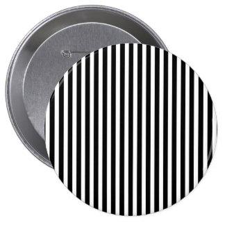 Licorice Black and White Cabana Stripes 4 Inch Round Button