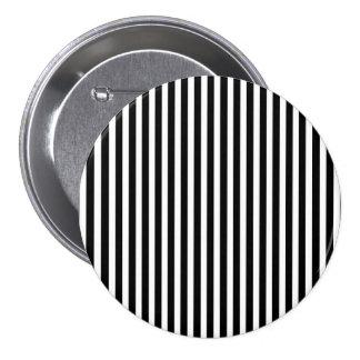Licorice Black and White Cabana Stripes 3 Inch Round Button