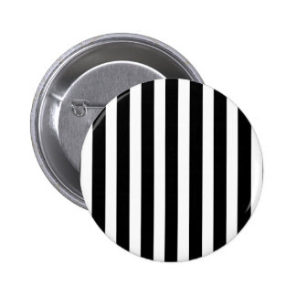 Licorice Black and White Cabana Stripes 2 Inch Round Button