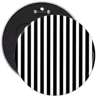 Licorice Black and White Cabana Stripes 6 Inch Round Button