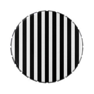 Licorice Black and White Cabana Stripes Candy Tin