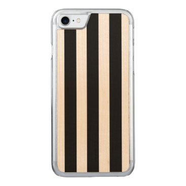 Beach Themed Licorice Black and White Cabana Stripes Carved iPhone 7 Case
