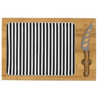 Licorice Black and White Cabana Stripes Cheese Board