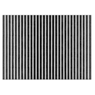Licorice Black and White Cabana Stripes Cutting Board