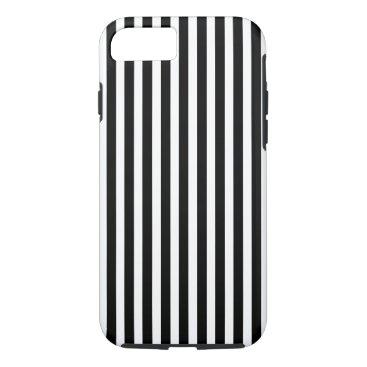 Beach Themed Licorice Black and White Cabana Stripes iPhone 7 Case