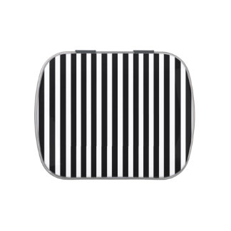 Licorice Black and White Cabana Stripes Jelly Belly Tin