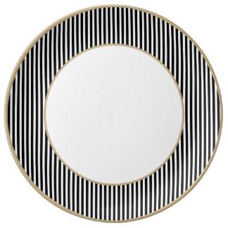 Licorice Black and White Cabana Stripes Porcelain Plate