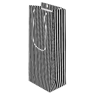 Beach Themed Licorice Black and White Cabana Stripes Wine Gift Bag