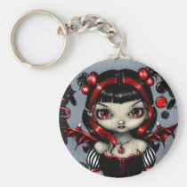 artsprojekt, art, fantasy, licorice fairy, licorice, black licorice, red, black, candy, candy fairy, corset, stripe, stripes, eye, eyes, big eye, big eyed, jasmine, becket-griffith, becket, griffith, jasmine becket-griffith, jasmin, strangeling, artist, goth, gothic, fairy, gothic fairy, faery, fairies, faerie, fairie, lowbrow, low brow, big eyes, strangling, fantasy art, original, Keychain with custom graphic design