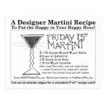 Licorice Stick Friday 13th Martini Recipe Card Postcard