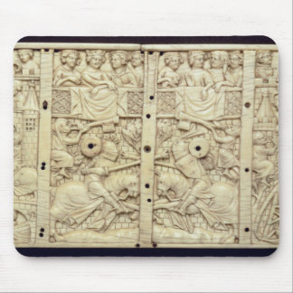 Lid of a casket depicting a tournament mouse pads