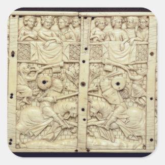 Lid of a casket depicting a tournament square sticker