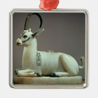 Lid of an unguent jar in the form of an ibex metal ornament
