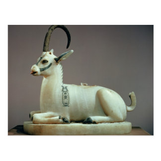 Lid of an unguent jar in the form of an ibex postcard