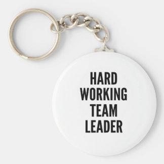 Líder de equipo de trabajo duro llavero redondo tipo pin