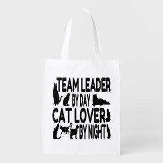 Líder de equipo del amante del gato bolsas reutilizables