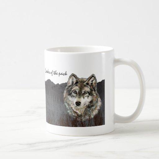 Líder del animal del lobo del humor del día de pad taza