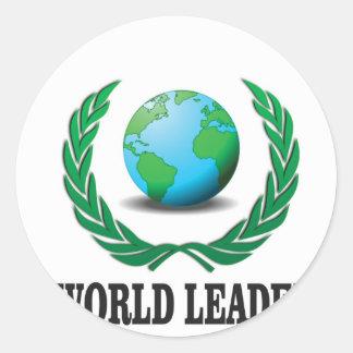 líder mundial pegatina redonda