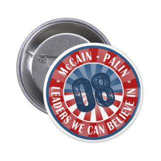 Líderes de McCain Palin que podemos creer adentro Pin Redondo De 2 Pulgadas