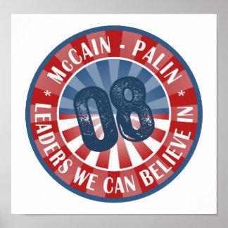 Líderes de McCain Palin que podemos creer adentro Póster