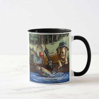 """""""Lie is Better on the River"""" Yellow Lab Fishing Mug"""