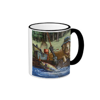 """Lie is Better on the River"" Yellow Lab Fishing Ringer Coffee Mug"