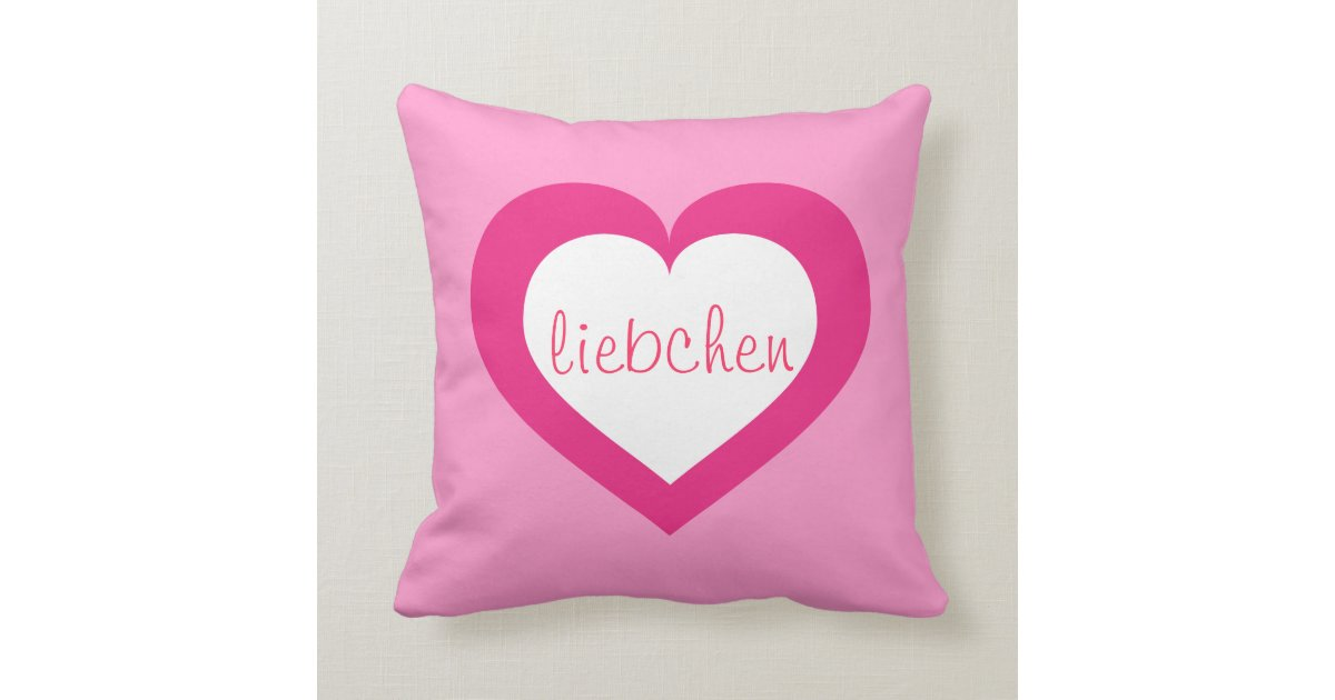 Liebchen white and hot pink heart throw pillow Zazzle