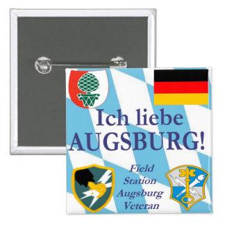 ¡Liebe Augsburg de Ich!  ¡Amo Augsburg!  botón Pin Cuadrado