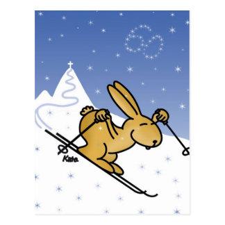 Liebre de esquí tarjetas postales
