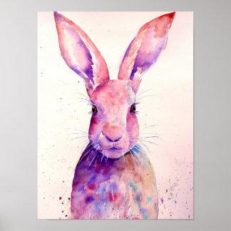 Liebres abstractas del conejo de la acuarela póster