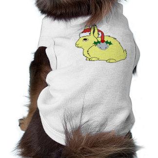 Liebres árticas amarillas con el gorra de Santa y Playera Sin Mangas Para Perro