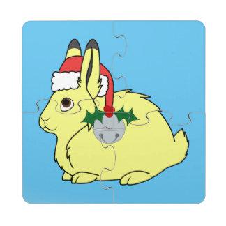 Liebres árticas amarillas con el gorra de Santa y Posavasos De Puzzle