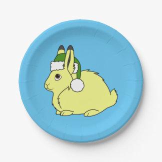 Liebres árticas amarillas con el gorra verde de plato de papel de 7 pulgadas