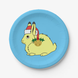 Liebres árticas amarillas con el gorra y el oro plato de papel de 7 pulgadas