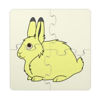 Liebres árticas amarillas posavasos de puzzle