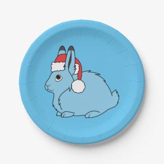 Liebres árticas azules claras con el gorra rojo de plato de papel de 7 pulgadas