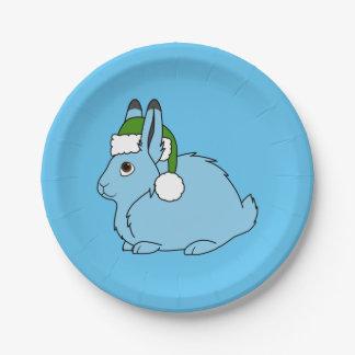 Liebres árticas azules claras con el gorra verde plato de papel de 7 pulgadas