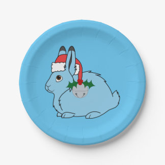 Liebres árticas azules claras - gorra de Santa y Plato De Papel De 7 Pulgadas