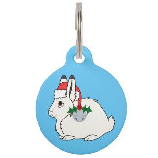 Liebres árticas blancas con el gorra de Santa y Identificador Para Mascotas
