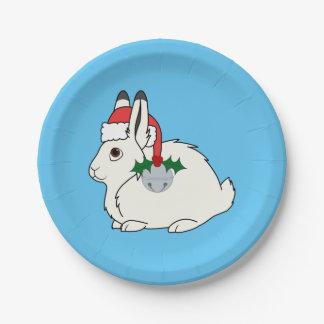 Liebres árticas blancas con el gorra de Santa y Plato De Papel De 7 Pulgadas
