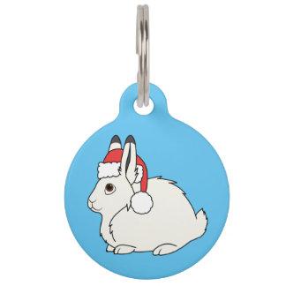 Liebres árticas blancas con el gorra rojo de Santa Identificador Para Mascotas