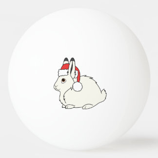 Liebres árticas blancas con el gorra rojo de Santa Pelota De Tenis De Mesa