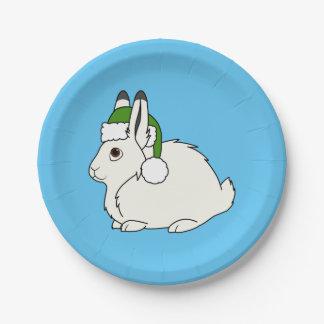 Liebres árticas blancas con el gorra verde de plato de papel de 7 pulgadas