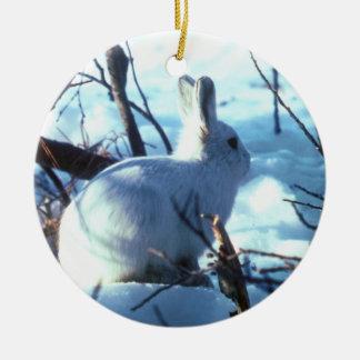 Liebres árticas en nieve adorno redondo de cerámica