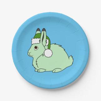 Liebres árticas verdes claras con el gorra verde plato de papel de 7 pulgadas