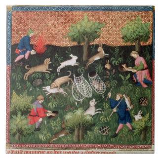 Liebres de la caza fol.92 de ms Fr 616, del Livre  Azulejo Cuadrado Grande