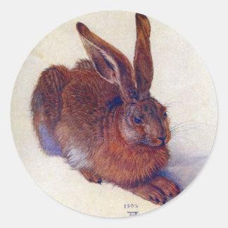 Liebres jovenes de Albrecht Durer, arte Pegatina Redonda