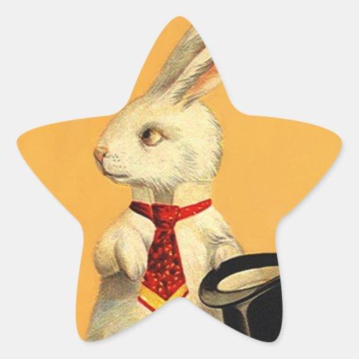 Liebres mágicas del conejo de la tripleta de pegatina en forma de estrella