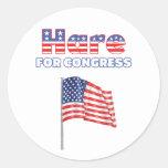 Liebres para la bandera americana patriótica del pegatina redonda