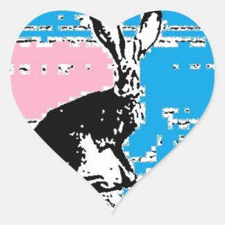 Liebres rosadas y azules de Pascua Pegatina En Forma De Corazón